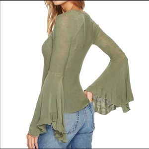 Free People Dramatic Bell Sleeve Top
